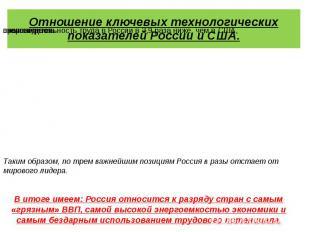 Отношение ключевых технологических показателей России и США.