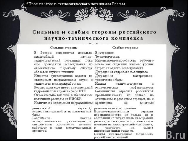 Сильные и слабые стороны российского научно-технического комплекса