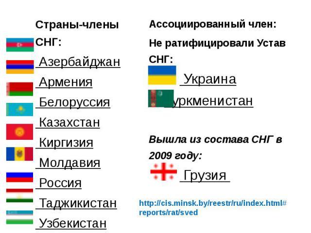 Страны-члены СНГ: Азербайджан Армения Белоруссия Казахстан Киргизия Молдавия Россия Таджикистан Узбекистан Страны-члены СНГ: Азербайджан Армения Белоруссия Казахстан …