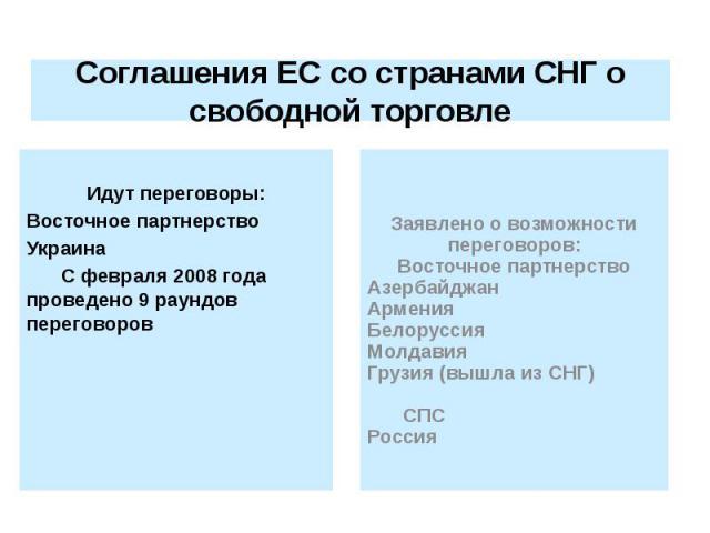 Соглашения ЕС со странами СНГ о свободной торговле Идут переговоры: Восточное партнерство Украина С февраля 2008 года проведено 9 раундов переговоров
