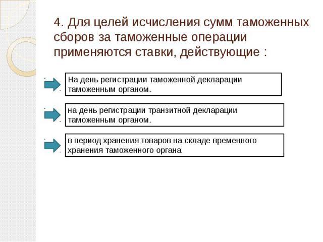 4. Для целей исчисления сумм таможенных сборов за таможенные операции применяются ставки, действующие: