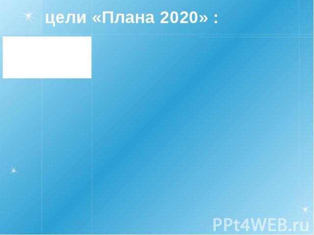 цели «Плана 2020» :