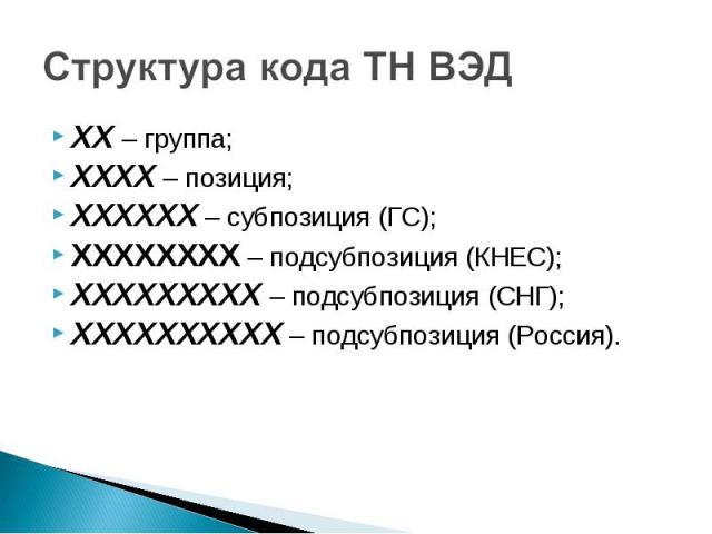 ХХ – группа; ХХ – группа; ХХХХ – позиция; ХХХХХХ – субпозиция (ГС); ХХХХХХХХ – подсубпозиция (КНЕС); ХХХХХХХХХ – подсубпозиция (СНГ); ХХХХХХХХХХ – подсубпозиция (Россия).