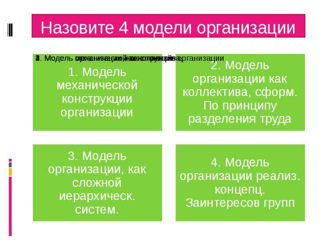 Назовите 4 модели организации