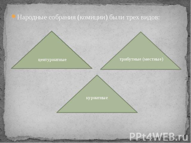 Народные собрания (комиции) были трех видов: Народные собрания (комиции) были трех видов: