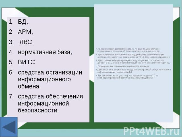 БД, БД, АРМ, ЛВС, нормативная база, ВИТС средства организации информационного обмена средства обеспечения информационной безопасности.