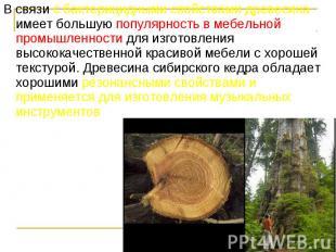 В связи с бактерицидными свойствами древесина имеет большую популярность в мебел