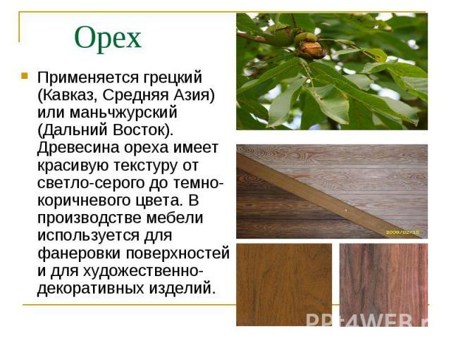 Применяется грецкий (Кавказ, Средняя Азия) или маньчжурский (Дальний Восток). Древесина ореха имеет красивую текстуру от светло-серого до темно-коричневого цвета. В производстве мебели используется для фанеровки поверхностей и для художественно-деко…