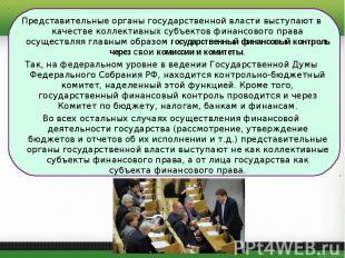 Представительные органы государственной власти выступают в качестве коллективных