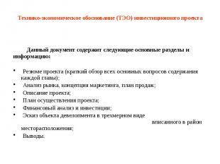 Технико-экономическое обоснование (ТЭО) инвестиционного проекта Данный документ