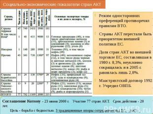 Социально-экономические показатели стран АКТ Режим односторонних преференций про