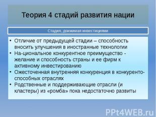 Теория 4 стадий развития нации Стадия, движимая инвестициями