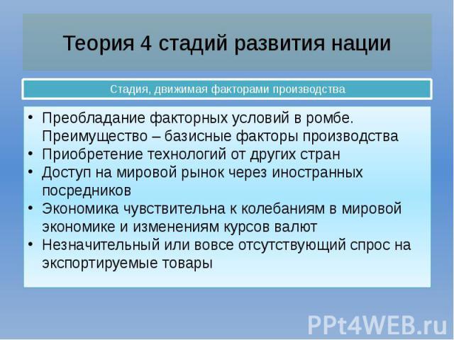 Теория 4 стадий развития нации Стадия, движимая факторами производства