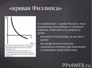 «кривая Филлипса» В соответствии с «кривой Филлипса» были разработаны рекомендац