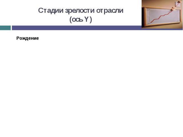 Стадии зрелости отрасли (ось Y)