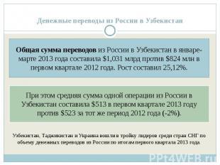 Денежные переводы из России в Узбекистан