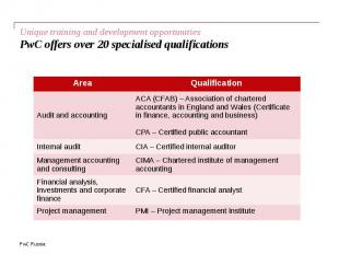 Unique training and development opportunities PwC offers over 20 specialised qua