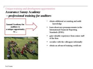 Unique training and development opportunities Assurance Sunny Academy – professi