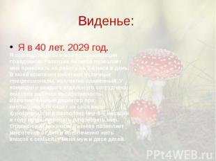Виденье: Я в 40 лет. 2029 год.