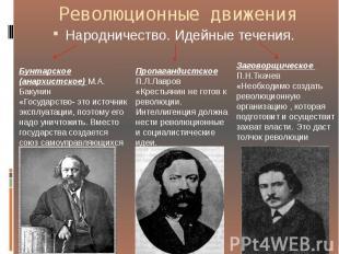 Революционные движения Народничество. Идейные течения.