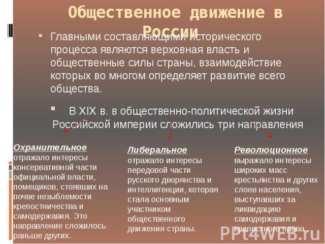 Общественное движение в России Главными составляющими исторического процесса являются верховная власть и общественные силы страны, взаимодействие которых во многом определяет развитие всего общества. В XIX в. в общественно-политической ж…