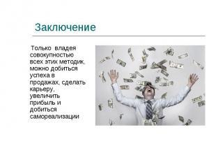 Только владея совокупностью всех этих методик, можно добиться успеха в продажах,