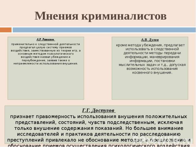 Мнения криминалистов А.Р. Ратинов применительно к следственной деятельности предлагал целую систему приемов воздействия, заимствованную из теории игр, а основным методом психологического воздействия назвал убеждение и переубеждение, заявив также о н…