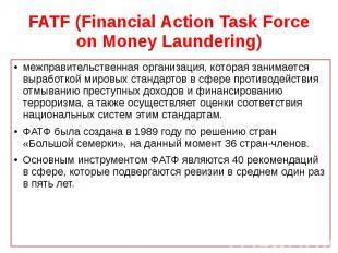 FATF (Financial Action Task Force on Money Laundering) межправительственная орга