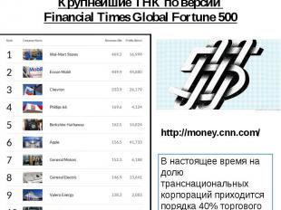 Крупнейшие ТНК по версии Financial Times Global Fortune 500 http://money.cnn.com
