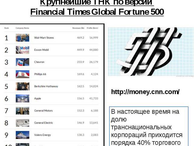 Крупнейшие ТНК по версии Financial Times Global Fortune 500 http://money.cnn.com/