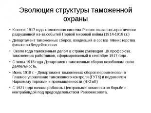 Эволюция структуры таможенной охраны К осени 1917 года таможенная система России