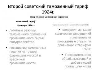 Второй советский таможенный тариф 1924г. привозной тариф 8 января 1924. г.