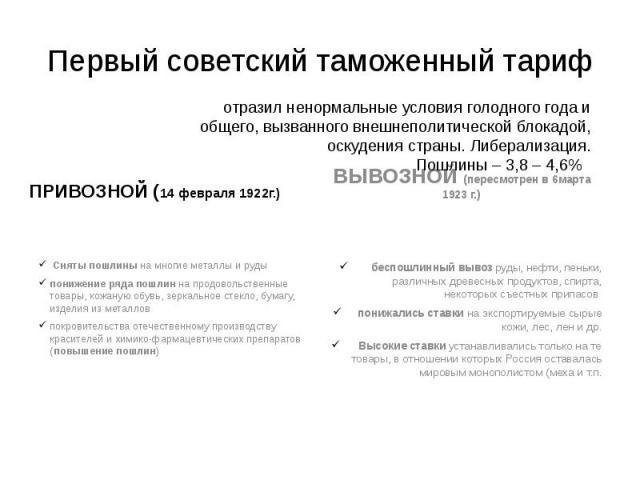 Первый советский таможенный тариф ПРИВОЗНОЙ (14 февраля 1922г.)