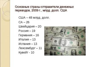 США – 48 млрд. долл. США – 48 млрд. долл. СА – 26 Швейцария – 20 Россия – 19 Гер