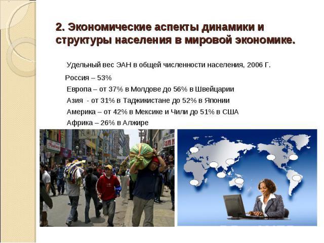 Удельный вес ЭАН в общей численности населения, 2006 Г. Удельный вес ЭАН в общей численности населения, 2006 Г. Россия – 53% Европа – от 37% в Молдове до 56% в Швейцарии Азия - от 31% в Таджикистане до 52% в Японии Америка – от 42% в Мексике и Чили …