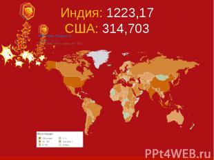 Индия: 1223,17 США: 314,703