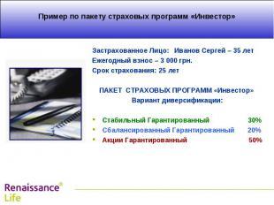 Застрахованное Лицо: Иванов Сергей – 35 лет Застрахованное Лицо: Иванов Сергей –