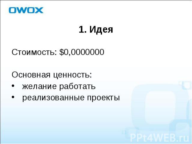 Стоимость: $0,0000000 Стоимость: $0,0000000 Основная ценность: желание работать реализованные проекты