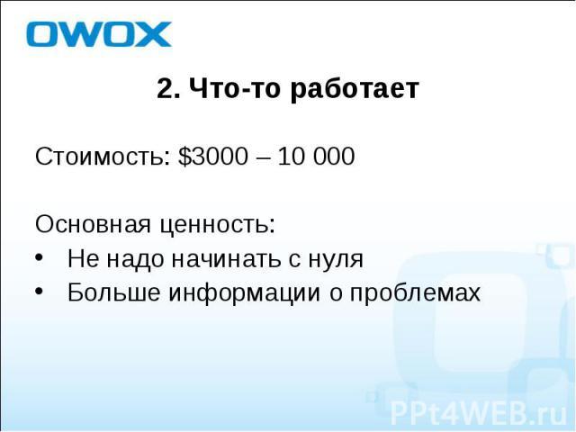 Стоимость: $3000 – 10 000 Стоимость: $3000 – 10 000 Основная ценность: Не надо начинать с нуля Больше информации о проблемах