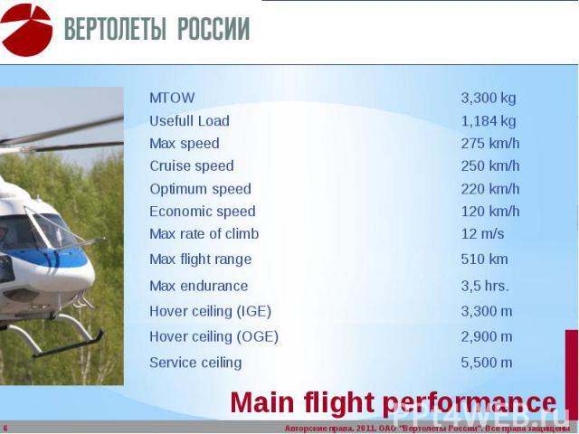 Main flight performance