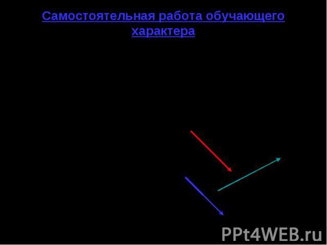 Самостоятельная работа обучающего характера 1 вариант 1. Рис.7.От точки А отложите вектор: _ а) равный вектору а; _ б) сонаправленный вектору b; в) противоположно _ направленный вектору с. 2. ABCD – ромб. Равны ли векторы: с __ __ а) AB и CD; А . __…