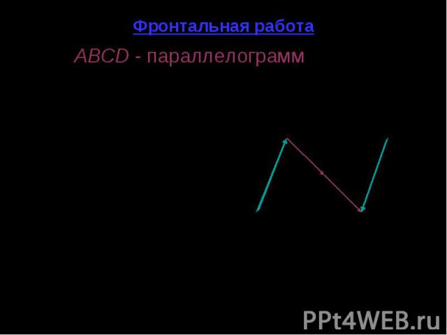 Фронтальная работа ABCD - параллелограмм (рис. 1). - Назовите все векторы, изображенные на рисунке. - Среди изображенных на рисунке векторов укажите: а) коллинеарные; б) сонаправленные; в) противоположно направленные; г) равные; д) равные по модулю;…