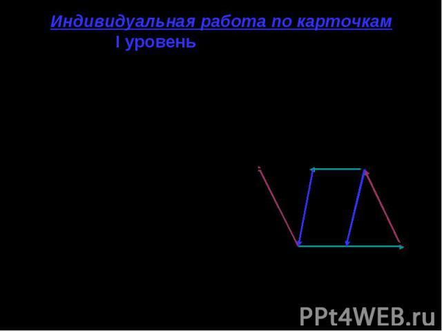 Индивидуальная работа по карточкам I уровень (карточка № 1) Рис. 3. PKEF- параллелограмм. А и В- середины КЕ иPF соответственно. 1. Запишите все векторы, изображенные на рисунке. __ __ 2. РК↑↑ FE. Почему? __ ___ 3. ЕА ≠ BF. Почему? __ 4. Равны ли ве…