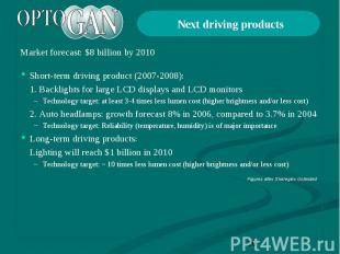 Next driving products Market forecast: $8 billion by 2010