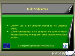 Effective use of the European market by the Bulgarian SMEs; Successful integrati