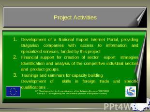 Development of a National Export Internet Portal, providing Bulgarian companies
