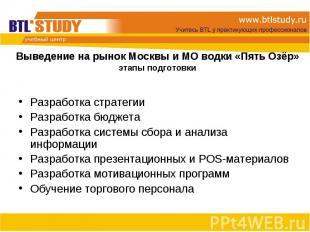 Разработка стратегии Разработка стратегии Разработка бюджета Разработка системы