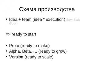 Idea + team (idea * execution) from Seth Godin Idea + team (idea * execution) fr
