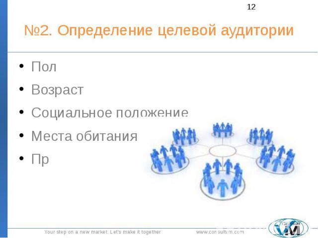 №2. Определение целевой аудитории Пол Возраст Социальное положение Места обитания Пр