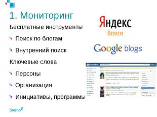 1. Мониторинг Бесплатные инструменты Поиск по блогам Внутренний поиск Ключевые с